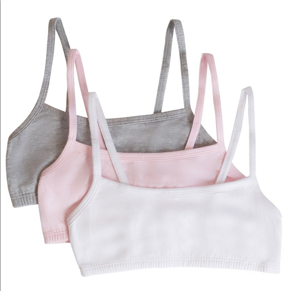 3c83e56d717 3 Pack Girl Cotton Stretch Sports Training Bra NWT. NWT. Fruit of the Loom